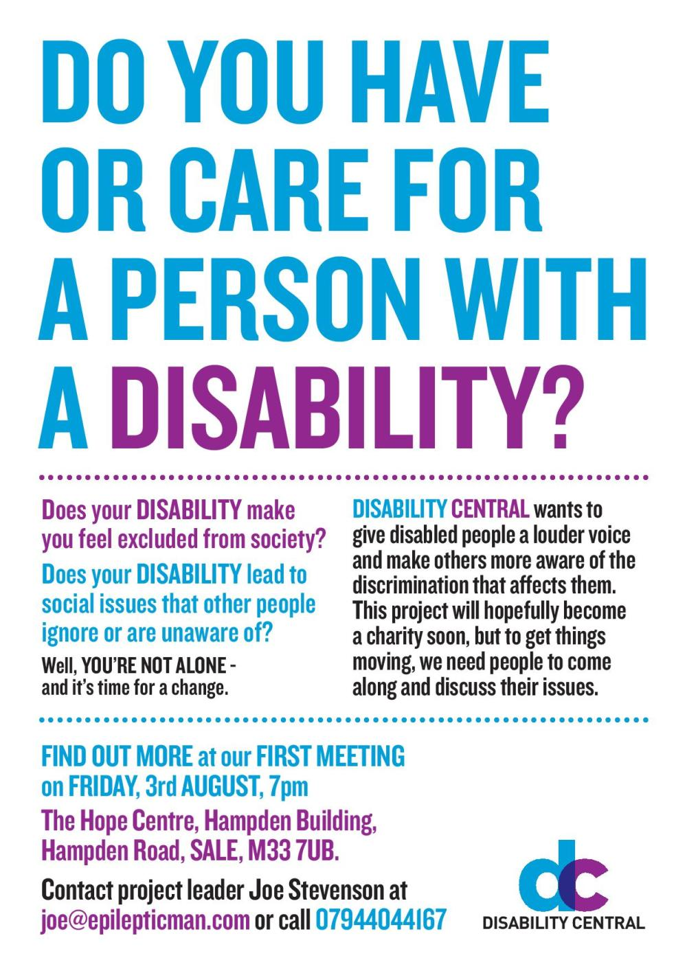 Disability Central First Meeting Poster