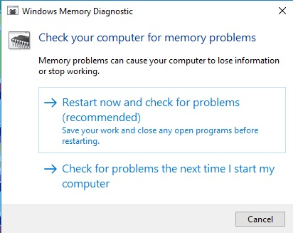 Check your computer for memory problems notification picture