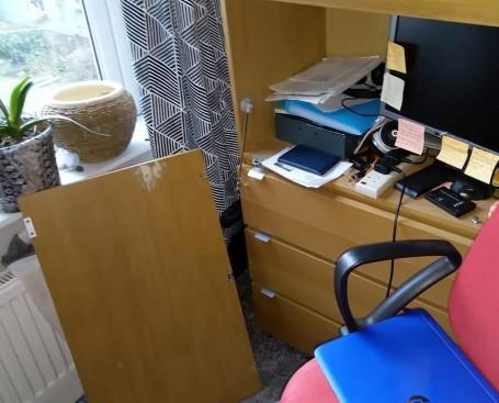 Broken desk surface
